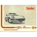 Notice d' entretien Alfa Roméo Spider 1989